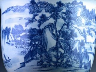 EXCEPTIONAL CHINESE BLUE WHITE SCENIC FISH BOWL PLANTER VASE QIANLONG JIAQING 10