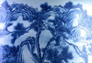 EXCEPTIONAL CHINESE BLUE WHITE SCENIC FISH BOWL PLANTER VASE QIANLONG JIAQING 11