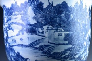 EXCEPTIONAL CHINESE BLUE WHITE SCENIC FISH BOWL PLANTER VASE QIANLONG JIAQING 12
