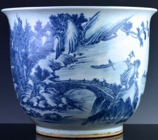 Exceptional Chinese Blue White Scenic Fish Bowl Planter Vase Qianlong Jiaqing