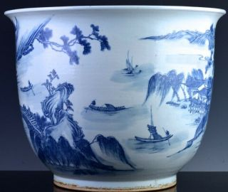 EXCEPTIONAL CHINESE BLUE WHITE SCENIC FISH BOWL PLANTER VASE QIANLONG JIAQING 2