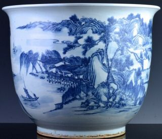 EXCEPTIONAL CHINESE BLUE WHITE SCENIC FISH BOWL PLANTER VASE QIANLONG JIAQING 3