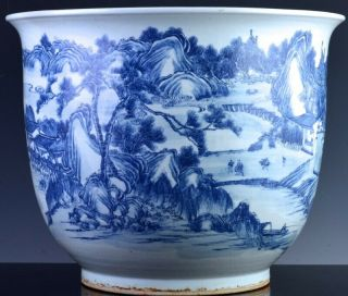 EXCEPTIONAL CHINESE BLUE WHITE SCENIC FISH BOWL PLANTER VASE QIANLONG JIAQING 4