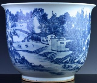 EXCEPTIONAL CHINESE BLUE WHITE SCENIC FISH BOWL PLANTER VASE QIANLONG JIAQING 5