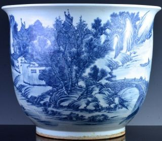 EXCEPTIONAL CHINESE BLUE WHITE SCENIC FISH BOWL PLANTER VASE QIANLONG JIAQING 6