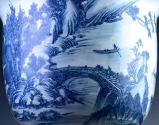 EXCEPTIONAL CHINESE BLUE WHITE SCENIC FISH BOWL PLANTER VASE QIANLONG JIAQING 7