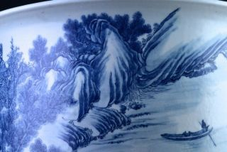 EXCEPTIONAL CHINESE BLUE WHITE SCENIC FISH BOWL PLANTER VASE QIANLONG JIAQING 8