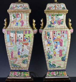 Large Pair C1800 Chinese Jiaqing Famille Rose Imperial Figures Scenic Vase Lamps