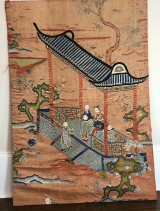"""Antique Large 40 """" Tall Chinese Figural Men Hand Embroidered Silk Panel Tapestry"""