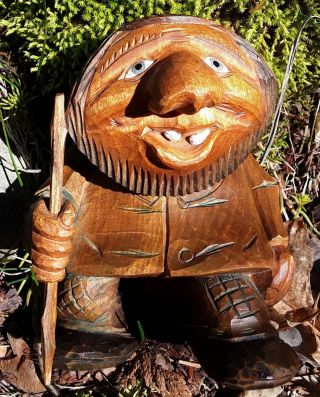 Handsome,  Hand Carved Troll From Norway Signed 1979,  Masterfully Crafted,