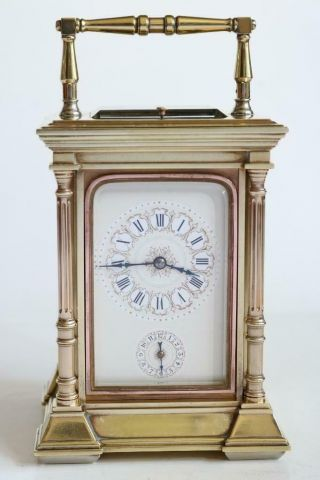 Antique French Carriage Clock Strike Repeat & Alarm Heavy Gilt Bronze Case