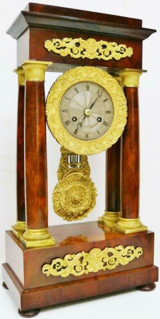 Rare Antique French 8 Day Bell Striking Mahogany & Bronze Portico Mantel Clock