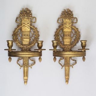 Early 19c Antique Russian Neoclassical Gilt Bronze Wall Candleholders Torches