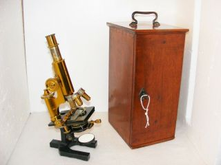 Carl Zeiss Microscope No.  17923 With Mechanical Stage & Accessories C.  1880s