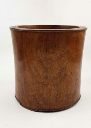 Huge 23cm Chinese Hardwood Brushpot,  Huanghuali?19th C,  Fresh Out Of An Sf Estate