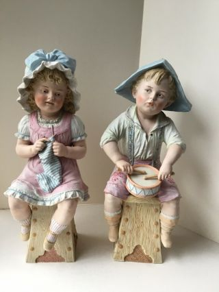 Antique Sitting Piano Baby Girl And Boy Figurines Bisque Porcelain