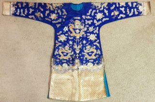 Antique Chinese Blue - Ground Embroidery Five - Clawed Dragon Robe,  Circa 1900