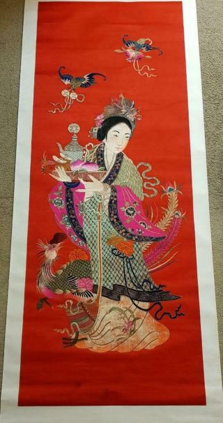 Huge 195cm Antique Chinese Embroidery Of Immortal Magu Figure W/ Phenix,  19th C