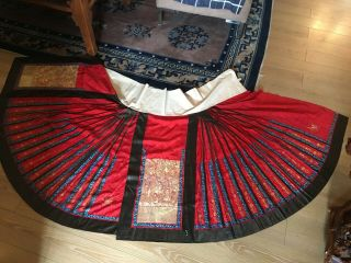 Chinese 19thc Skirt Gold Couched Skirt Complete