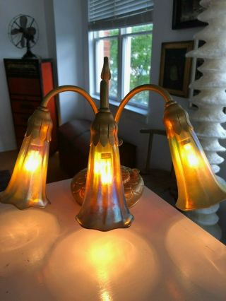 Authentic Tiffany Studios Lily Piano Lamp With Favrile Lily Shades