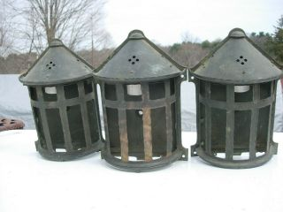 3 Antique Mission Gothic Arts & Crafts Copper Brass Bronze Wall Sconces