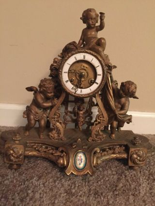 Antique Bronze French Clock Cherub Figurine 19th Century