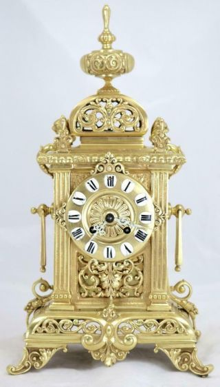 Antique French Mantle Clock Rare Bronze Cubed Shape 8day 1880