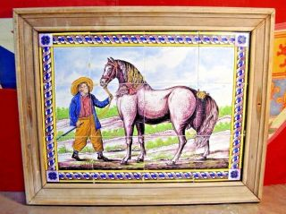 Antique Dutch Delft Polychrome 12 Tile Mural With A Horse And Farmer