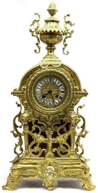 Antique French Mantle Clock 1870s Embossed Pierced Bronze Bell Striking
