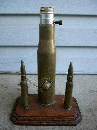 Vintage United States Marines Military Trench Art Lamp