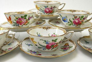 12 PC DRESDEN HAND PAINTED FLORAL WIDE TEA CUPS & SAUCERS 2