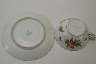 12 PC DRESDEN HAND PAINTED FLORAL WIDE TEA CUPS & SAUCERS 3