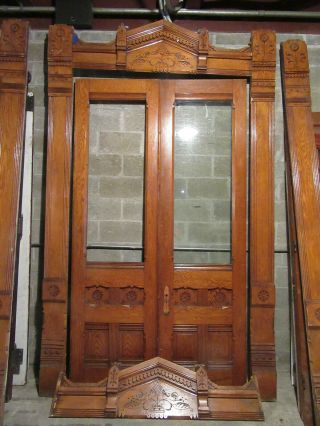 Antique Carved Oak Double Entrance French Doors With Moldings 77 X 122