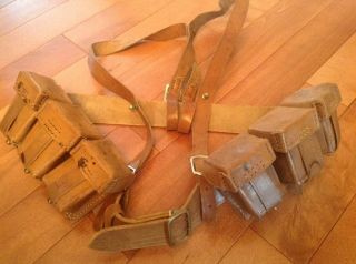 Rare Ww1 Turkish Leather Ammo Pouches,  Belt And Shoulder Straps