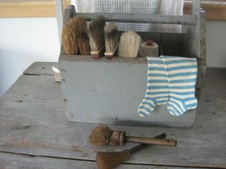 Old Vintage Primitive Grey Paint Wood Tote With Four Dividers American