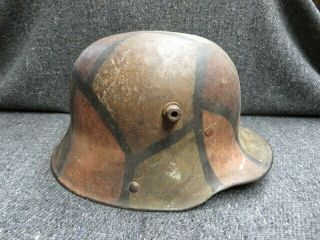 Wwi German Model 1917 Helmet W/ Camo Paint - Guaranteed - W/ Liner