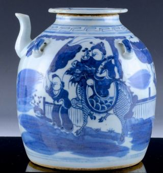 Large 19thc Chinese Blue & White Figural Fu Lion Landscape Family Teapot