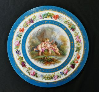 """Antique French Porcelain Hand Painted 17"""" Plaque Plate Putti Sevres ? Limoges ?"""