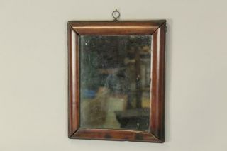 Extremely Rare American 17th C Pilgrim Period Bolection Molded Mirror In Cherry