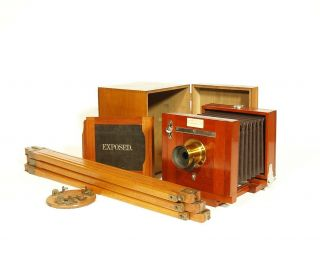 Tiny,  1890 Rochester Optical 4 X 5 Wood Tailboard Camera Outfit