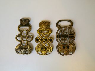 3 Antique Chinese Qing Dynasty Bronze Belt Hooks Or Buckles,  Varying Symbols
