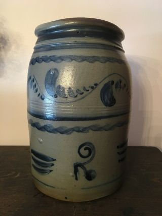 Freehand Decorated Antique Stoneware Crock - Greensboro,  Pa
