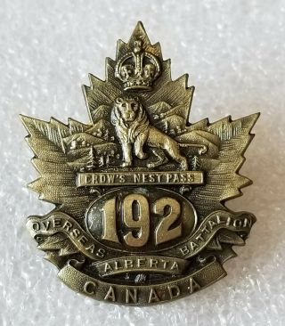 192nd Alberta Battalion - Cef Wwi - Crows Nest Pass - Canadian Cap Badge