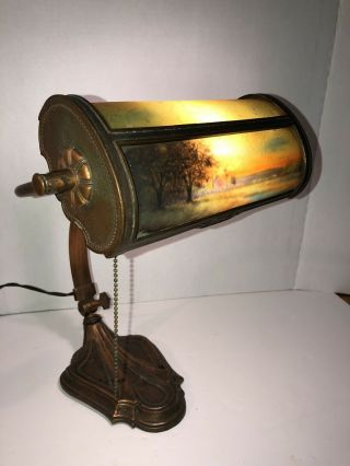 Antique E MILLER Reverse Paint LAMP Art Deco Arts Craft Brass Copper Student Old 2