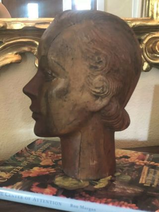 French Art Deco Mannequin Head Carved Wood Millener 1920s