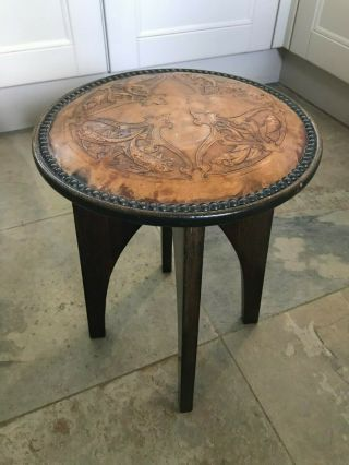 Rare Arts And Crafts Stool Leather Fish Pattern Top