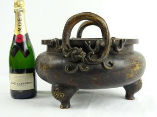Rare Heavy 10kg Chinese Bronze Censer Dragons Hongxian Reign Mark China C1916