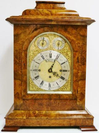 Rare Antique English Walnut Triple Fusee Musical 8 Bell Regulator Bracket Clock