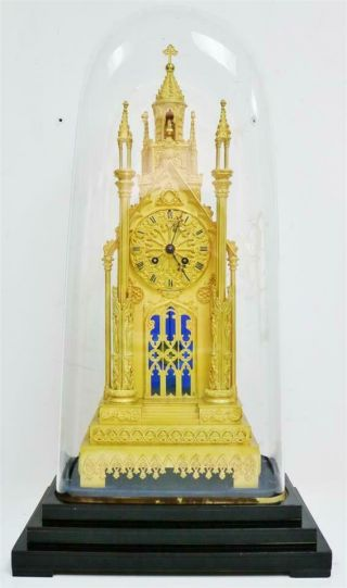Antique French Empire Bronze Ormolu Cathedral Automaton Mantle Clock