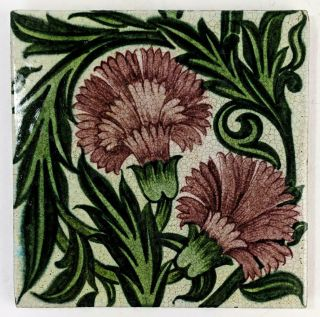 William De Morgan Chrysanthemum Arts & Crafts Ceramic Tile D.  M 88